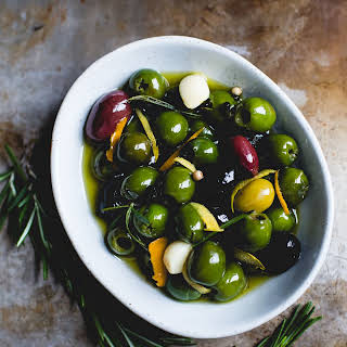 Warm Olives with Citrus, Rosemary, and a Splash of Gin.