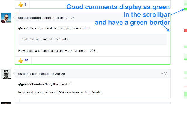 GitHub reactions minimap