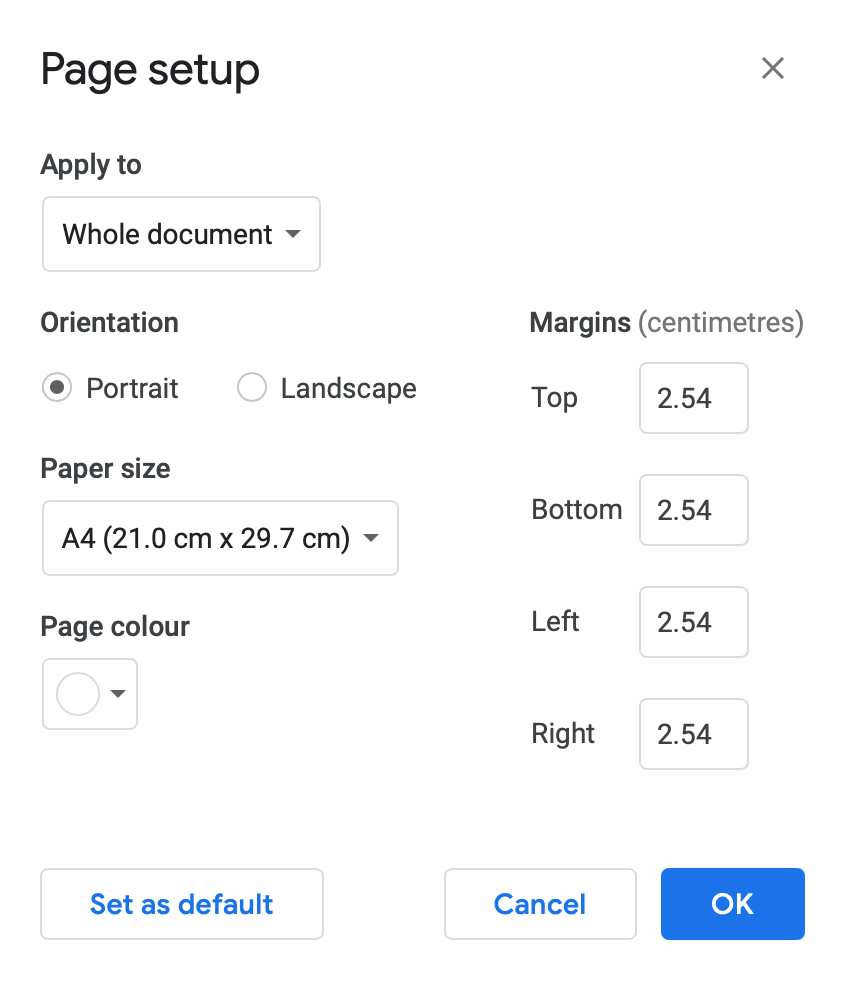 One inch (2.54 cm) margins are standard in Google Docs.
