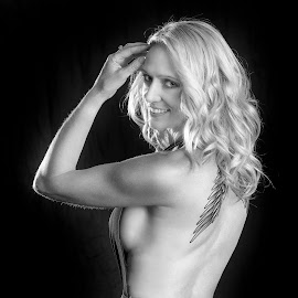 Side view by Chris O'Brien - Black & White Portraits & People ( studio, woman, beauty, black and white, blond, canon )