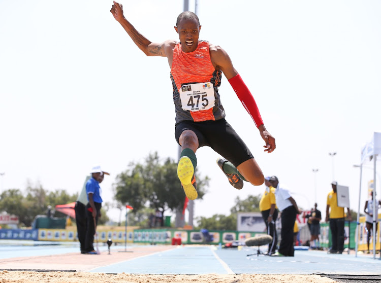 Khotso Mokoena of CGA in the mens triple jump final during day 2 of the ASA Senior and Combined Events Track & Field Championships at Tuks Athletics Stadium on March 16, 2018 in Pretoria.