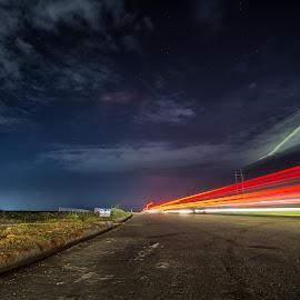 Night at Highway by Sabbir Ahmed - City,  Street & Park  Night ( light trail, bangladesh, highway, purbachal, long exposure, night, dhaka )