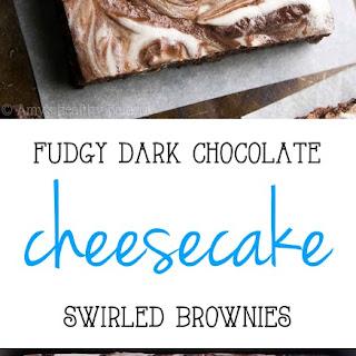 Fudgy Dark Chocolate Cheesecake Swirled Brownies