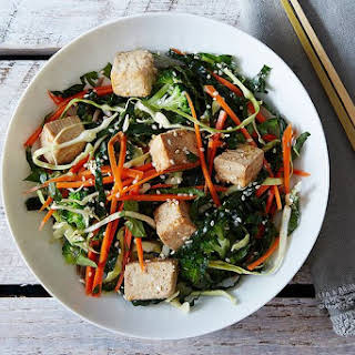 Citrus Ginger Tofu Salad with Buckwheat Soba Noodles.