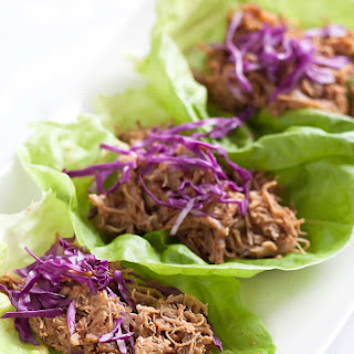 Spicy BBQ Pulled Pork Lettuce Wraps.