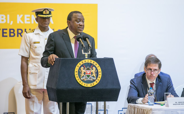 President Uhuru Kenyatta speaking during the programme launch./PSCU