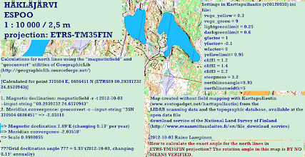 """Photo: Usage of the programs """"magneticfield"""" and """"geoconvert"""" of the GeographicLib package in calculation of the grid declination angle for maps in UTM projection based on WGS84/ETRS (such as ETRS-TM35FIN)"""