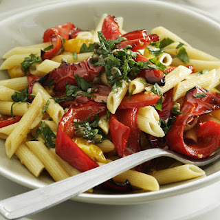 Penne Pasta with Roasted Peppers, Tomatoes and Salsa Verde.