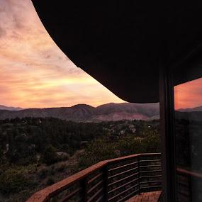 Evening Reflection  by Kerry Demandante - Landscapes Sunsets & Sunrises ( sky, mountains, pikes peak, sunset, deck, clouds, window, sun, landscape )