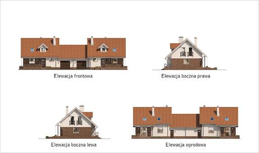 Dom na rozstaju - wariant III (bliźniak) - BCC214c - Elewacje