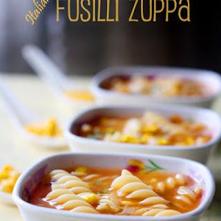 Italian Fusilli Zuppa / Pasta Soup.