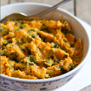 Kale and Goat Cheese Mashed Sweet Potato