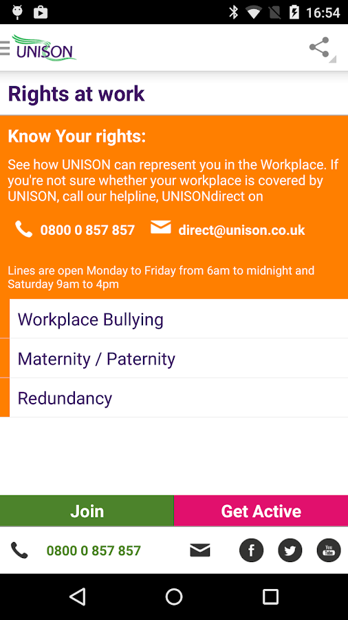 UNISON App- screenshot