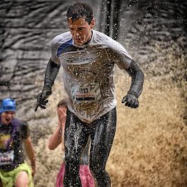 by Marco Bertamé - Sports & Fitness Other Sports ( splatter, splash, strong, brown, number, 1338, strangmanrun, running, man )