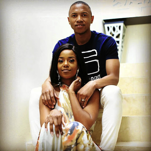 Andile Jali and his wife, Nonhle Ndala. According to sources, Ndala has asked Sundowns' management to rescue Jali.