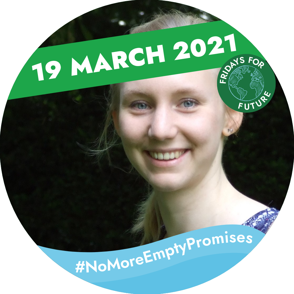 Smiling woman. Text saying: '19 March 2021, #NoMoreEmptyPromises Fridays for Future