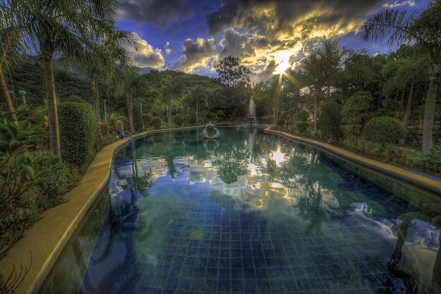 Bluer than Pool by Vhi Gersava - Landscapes Sunsets & Sunrises ( after, laguna, pansol, pool, sunset, hotspring, rain )