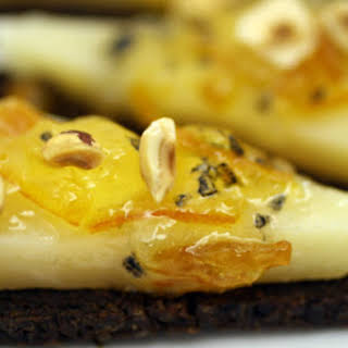 Black Bread with Manchego, Marmalade, and Hazelnuts.