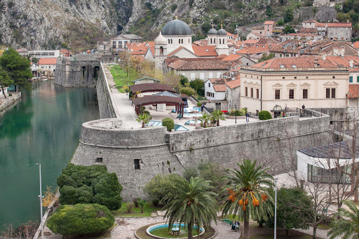 A closeup look at Kotor's Stari Grad, or Old Town, from the Port of Kotor.