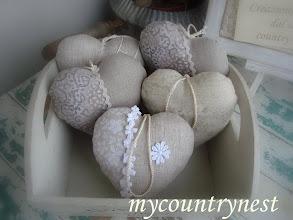 Photo: Cuori lino/cotone con imbottitura e lavanda