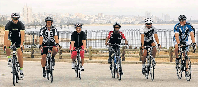 Primed to take on The Herald Continental Cycle Tour challenge are NMBM employees. From Left Shady Louis, Baden Gericke, Angelique Minnie, Sithembele Tsie, Godfrey Gelderblom and Kevin Benade.