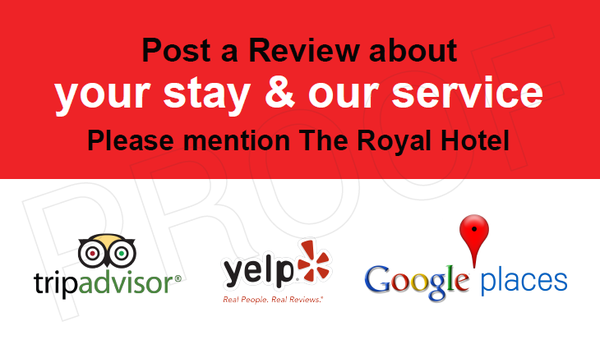 A sample business card asking recipients to post a review on TripAdvisor, Yelp, and Google Places.
