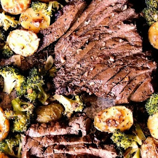 Sheet Pan Steak with Potatoes and Broccoli.