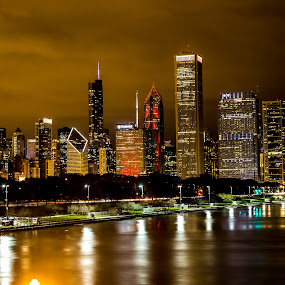 Chi at Night by Ramone Pearson - City,  Street & Park  Skylines ( chicago skyline, night photography, chicago, cityscape, nightscapes )