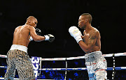 Zolani Tete,right,  and Siboniso Gonya square off in Belfast, Northern Ireland.