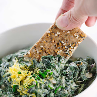Spinach Kale Yogurt Dip with Whole Grain Crackers