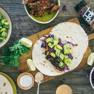 Blackened Mahi Tacos with Mango, Avocado, and Chipotle Aioli