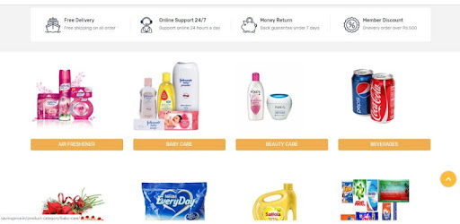 An online supermarket where customers can purchase house hold goods.