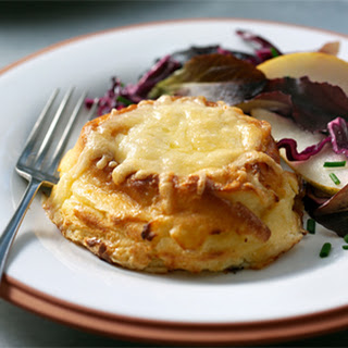Twice-Baked Cheese Soufflés with Pear & Red Leaf Salad