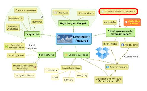 SimpleMind mind mapping- screenshot thumbnail