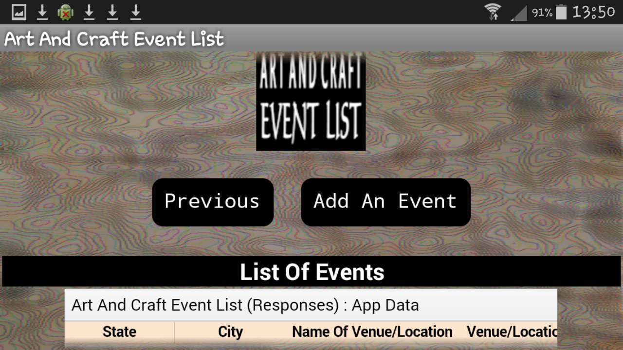 Art And Craft Event List- screenshot