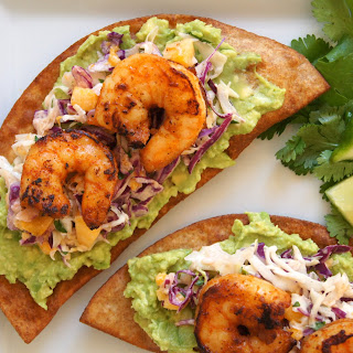 Smokey Shrimp + Avocado Crisps with Mango Slaw