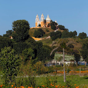 Church by Cristobal Garciaferro Rubio - Buildings & Architecture Places of Worship ( cholula, church, mexico, pyramid, puebla, flowers )
