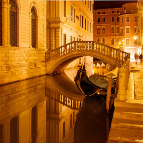 Venice Canal at Night by Bob Stafford - City,  Street & Park  Street Scenes ( europe 2012 may netherlands italy, 8.5x11 )