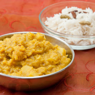 Green Lentil Dal with Rice