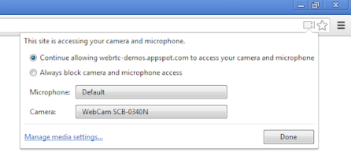 Photo: It's now possible to select the capture devices (such as the microphone and the camera) in the Omnibox bubble when you're on a website that uses WebRTC technology.  Download last chromium build at download-chromium.appsot.com and navigate toapprtc.appspot.com to give it a try.  Source:https://chromiumcodereview.appspot.com/12208010