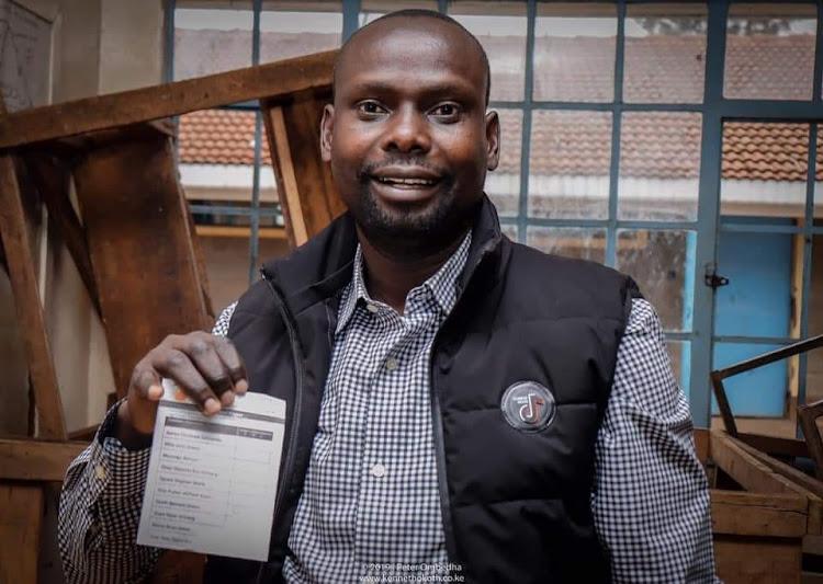 Benard 'Imran' Okoth when he cast his vote on September 7, 2019
