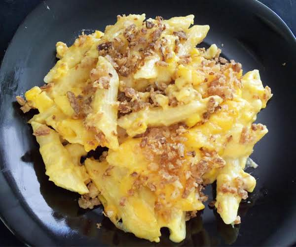 Mac & Cheese W/ French Fried Onions, Corn, & Bacon