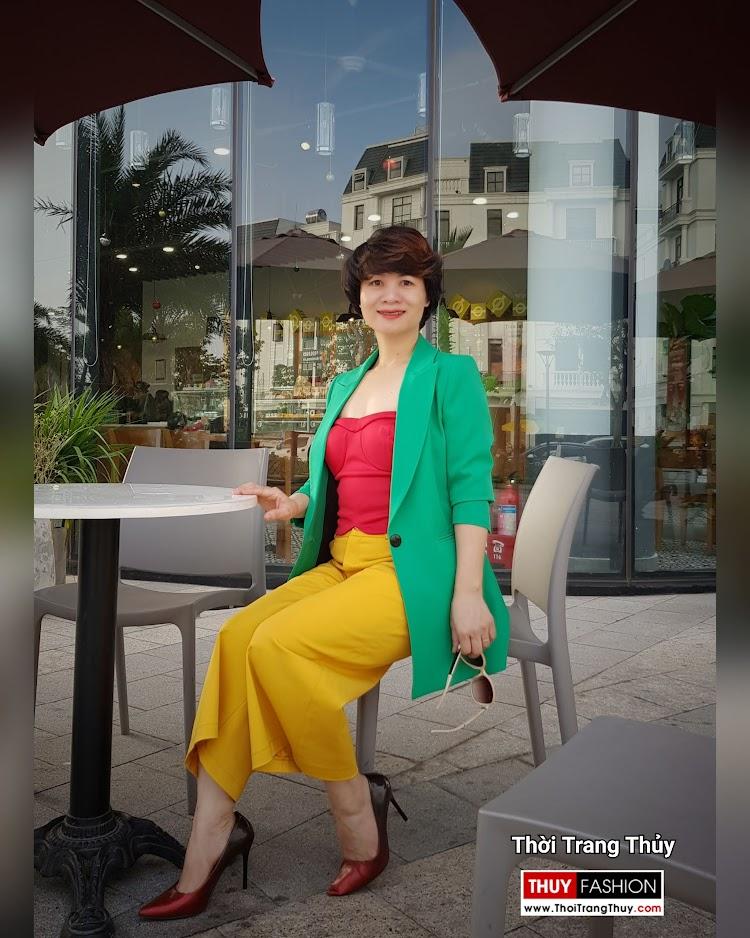 Áo vest nữ dáng suông mix quần culottes áo croptop V696 thời trang thủy đà nẵng