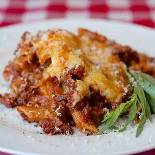 Easy Italian Sausage Baked Penne with 3 Cheeses.