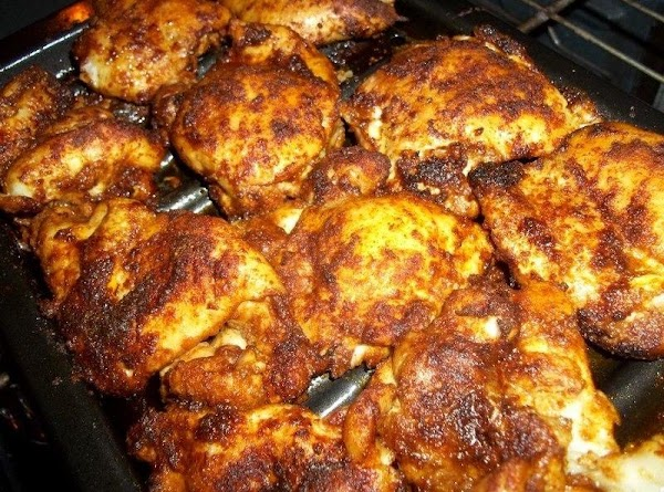 When done marinating, turn on your broiler and place your oven rack 2 notches...