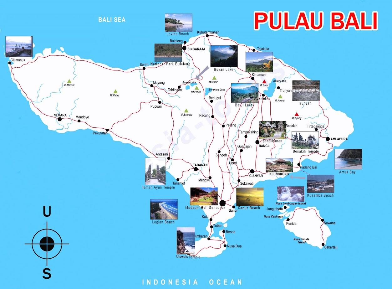 Peta Pulau Bali Lengkap