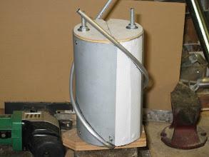 Photo: réalisation des loops d'une piéces,retournement du gabarit dans l'étau