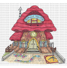 Riley & Company Mushroom Lane Cling Stamp 4X3.75 - School House UTGÅENDE