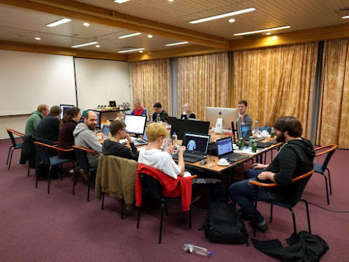 Photo of a coding session at the ViUR Sprint 2017