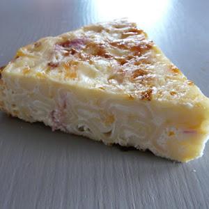 Ham and Cheddar Pasta Cake